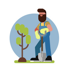 Man finished planting the tree vector