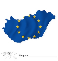 Map of Hungary with European Union flag vector image