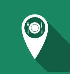 Map pointer with restaurant icon with long shadow vector