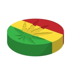 Marijuana leaf with rastafarian colors icon vector image