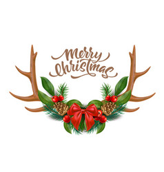 Merry christmas lettering horns bow holly vector