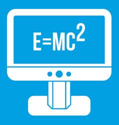 Monitor with einstein formula icon white vector
