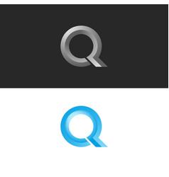 Monogram set letter q logo 3d shape calligraphic vector