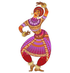 One indian woman dancer dancing in silhouette vector