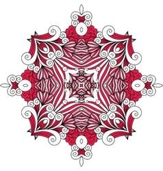 Ornate red symmetrical pattern over white vector