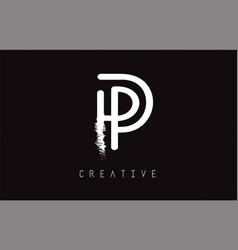 p monogram letter logo design brush paint stroke vector image