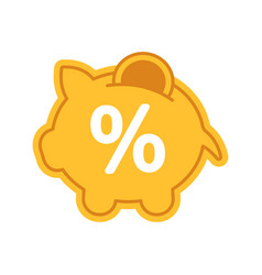 Penny piggy bank with percent color icon vector
