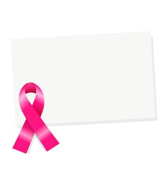Pink Ribbon Note vector image