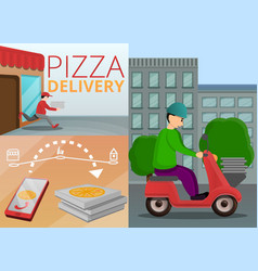 Pizza delivery banner set cartoon style vector