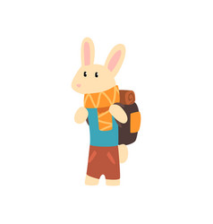rabbit travelling with backpack cute cartoon vector image