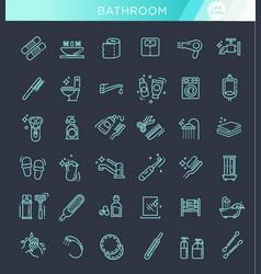 restroom bathroom icon set line style stock vector image