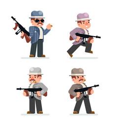 retro gangster mafia set dangerous criminal vector image