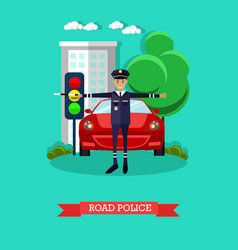 Road police in flat style vector