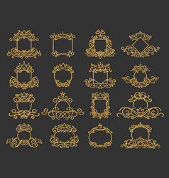 royal monogram frame hand drawn crown emblem vector image