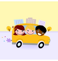 School bus with kids driving through town vector image
