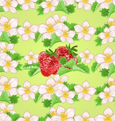 Seamless texture of strawberries with flowers vector image