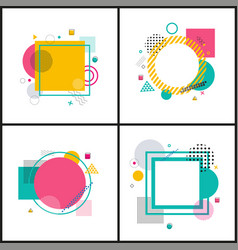Set colorful abstract frames on vector