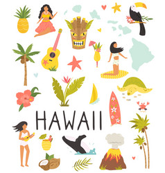 set colorful symbols landmarks hawaii vector image