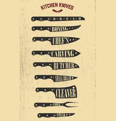 Set hand drawn kitchen knives design elements vector