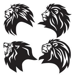 Set lion head logo mascot collection premium vector