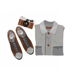 Shirt and shoes and vintage camera vector