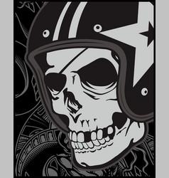 skull with helmet cafe racer vector image