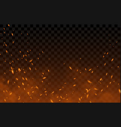 Smoke flying up sparks and fire particles vector