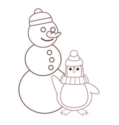 snowman and penguin cartoon brown lines vector image