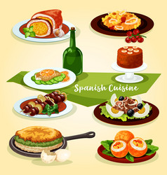 spanish cuisine lunch with dessert cartoon icon vector image