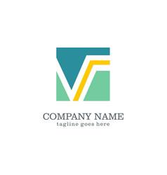 square letter v logo vector image