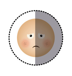 Sticker human face emoticon sad expression vector