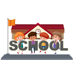 students holding school text vector image