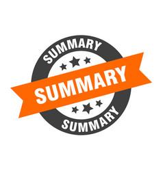 Summary sign summary orange-black round ribbon vector