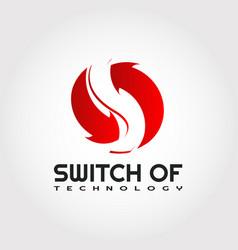 Technology logo design arrow and letter s vector