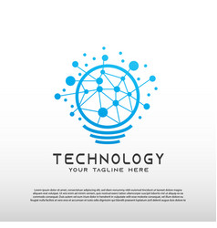 Technology logo with concept light bulb vector