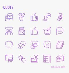 Testimonials and quote thin line icons set vector
