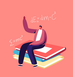 tiny student sitting at huge textbooks pile in vector image