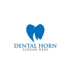 tooth with rhino horn negative space logo vector image
