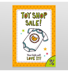 Toy shop sale flyer design with cute baby bodysuit vector