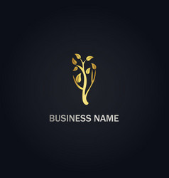 tree nature gold logo vector image