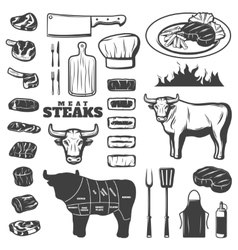 Vintage steak icon set vector