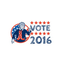 Vote 2016 Uncle Sam Pointing Circle Retro vector