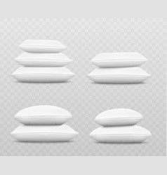 White pillow stack set from side view three or vector