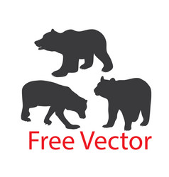 Wild bear silhouettes vector