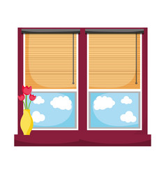 Window with blind curtain and fower inside jar vector