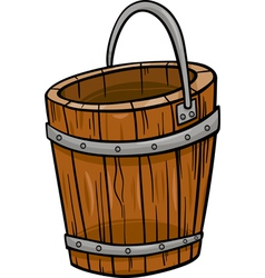 wooden bucket retro cartoon clip art vector image
