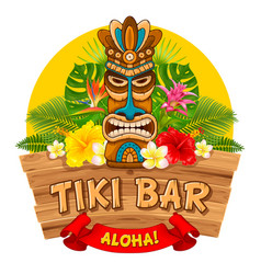 wooden tiki mask and signboard of bar vector image
