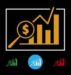 business financial chart icon vector image vector image