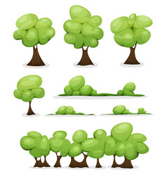 cartoon trees hedges and bush leaves set vector image vector image