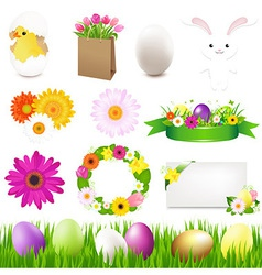 Happy Easter Icons And Green Grass vector image vector image